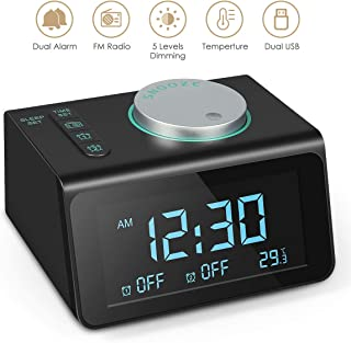 Coolwin Digital Alarm Clock - FM Radio, Dual Alarms, 3.2' Digital Display and Dimmer, 7 Alarm Sounds, Snooze Function, 2 USB Ports, Bedside FM Radio Alarm Clocks with Temp Display for Bedrooms/Kitchen