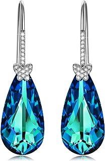 Alex Perry Regalo para Ella, Deseando la Mariposa 925 Plata Pendientes Aretes Mujeres Azul Electrico Cristales Swarovski, ...