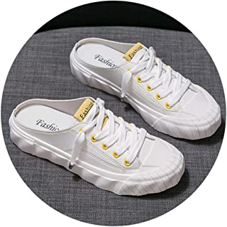 Slippers Baotou Sandals And Slippers Women Wear Summer 2020 New Korean Students Wild Thick Bottom Half Drag Female White Shoes (Color : B yellow, Size : 35)