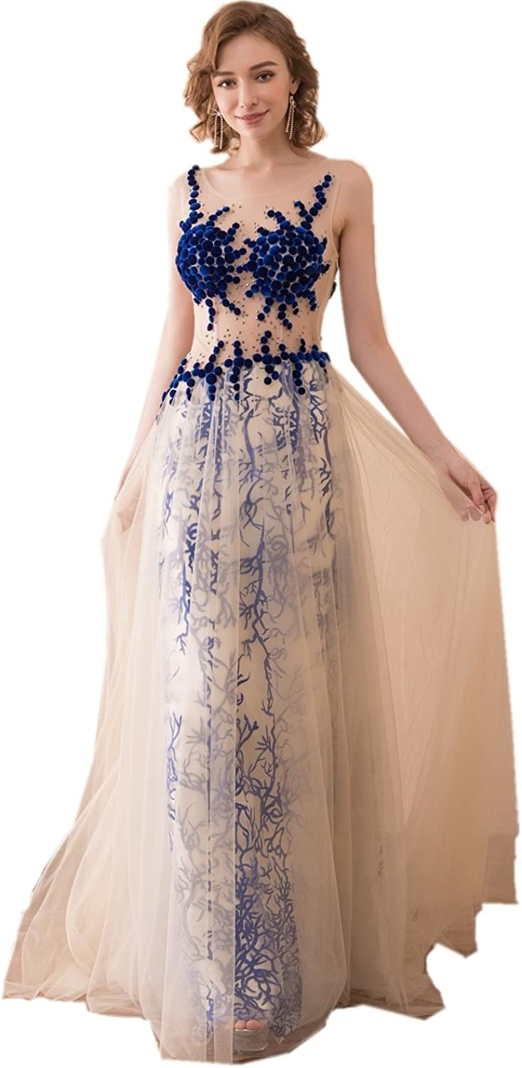 Heartgown 2018 Women's White and Royal bluee Print Beaded Long Prom Dress Tulle A Line Evening Gown