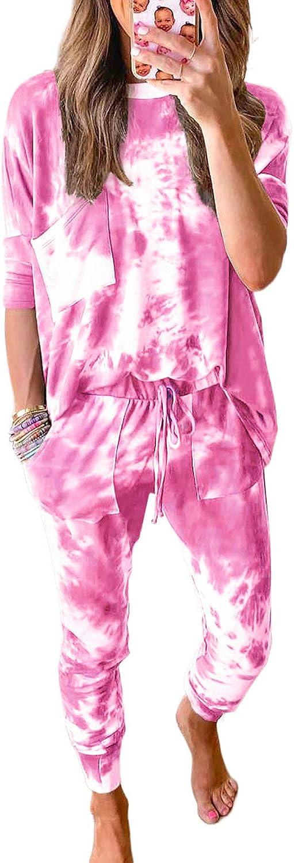 Azokoe Women Tie Dye Pajamas Set Long Sleeve Tops ans Drawstring Pants PJ Sets Joggers Loungewear Sleepwear Multicolor XL