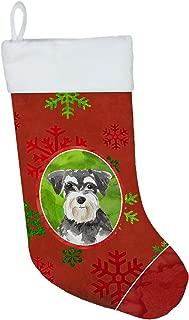 Caroline's Treasures CK4016CS Christmas Snowflakes Schnauzer #2 Christmas Stocking, Large, Multicolor