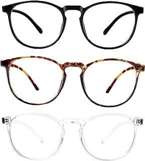 3-Pack Blue Light Blocking Glasses for Women/Men Blue Light Glasses for Teens, Square Computer Glasses Anti Eye Strain/UV/...