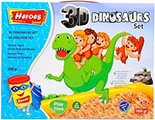 Kinetic Sand Dinosaur for Kids Children Play Set 3D Toys Molds 1kg Sand with sand box, Shaping Molds, Non-Toxic Sand for Boys