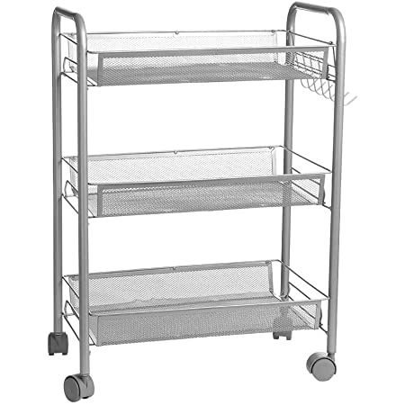 """shamoluotuo Metal Rolling Utility Cart on Wheels Mesh Wire Rolling Wire Storage Rack Trolley Multifunction Mobile Organizer Kitchen Storage Cart with Handle (3-Tier, 17.7""""L× 10.3""""W× 24.8""""H)"""