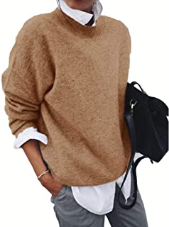 Women's Jumper Simple Warm Long Sleeve Round Neck Solid Color Pullover Knitted Loose Sweaters