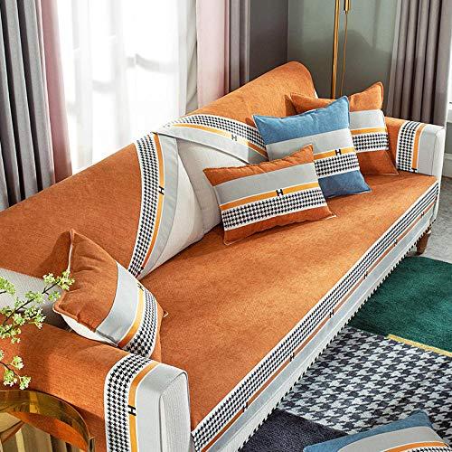 Topashe Funda sofá Duplex,Cojín de sofá de Lujo Ligero Antideslizante, Funda de sofá Simple y Moderna-Honey Orange_90 * 240cm,elástico Tejido Protector por sofá Funda