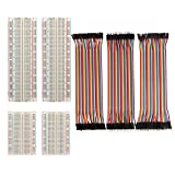 Paxcoo 4 Pieces Breadboards Kit with 120 Pieces Jumper Wires for Arduino Proto Shield Circ...