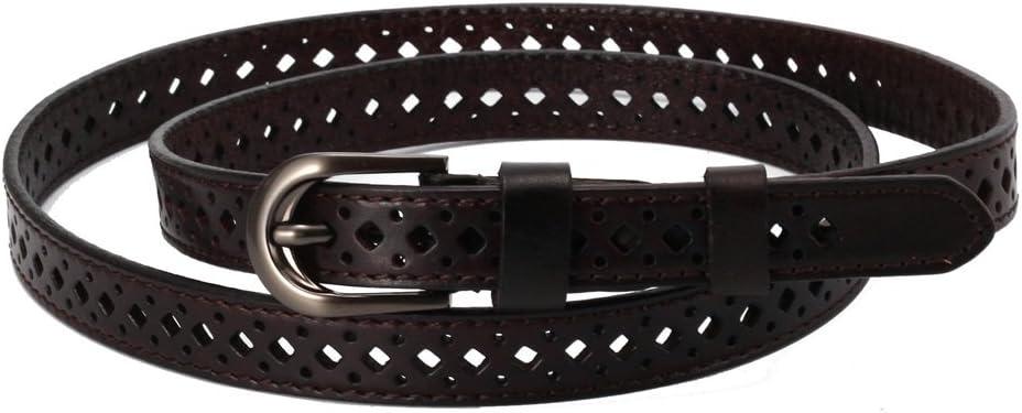 Cinturón reversible de cuero para mujer Cinturón de cuero para mujer para pantalones de vestir Cuero puro de mujer antigua Hollowed Out Cinturón de cuero fino minimalista Lady Belt Ocio ( tamaño : S )