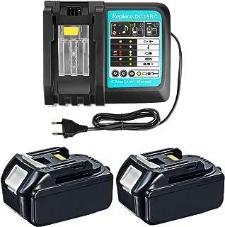 Pack of 2 18V 3Ah BL1830 Batteries with 3A DC18RC Charger for Makita Radio 18V DMR110 DMR112 DMR113 DMR114 DMR115