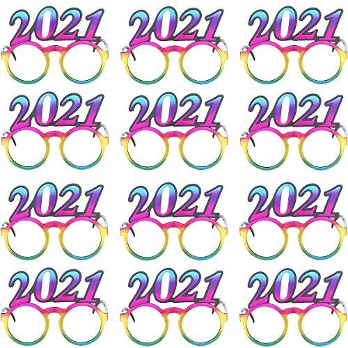 Carnavalife Pack 12 Gafas de Sol de Nochevieja para 2021, Monturas Gafas del Año Nuevo,Vasos de Navidad y Happy New Year para Fotografía, Disfraces de Accesorios para Fiestas (Pack 12 gafas 2021)