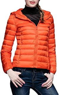 Macondoo Womens Fashion Puffer Coat Quilted Cotton-Padded Hooded Down Jacket