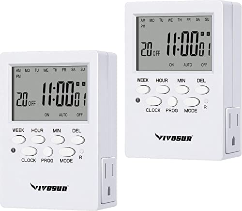 high quality VIVOSUN 7 Day Programmable Timer Indoor Digital Electronic Timer with popular Dual Outlet, 20 On/Off Program Setting, and Countdown Setting, 2 lowest Pack outlet online sale