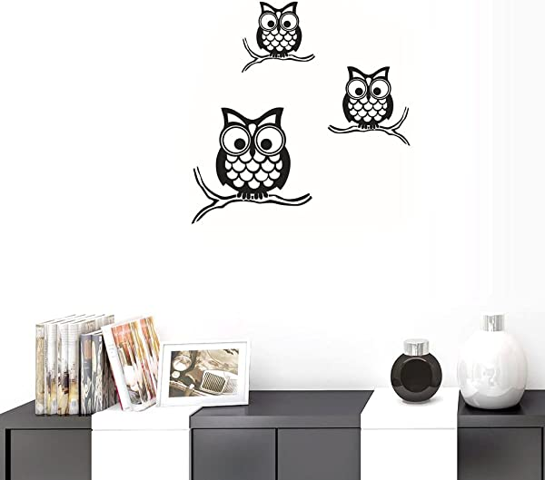 BIBITIME Nursery Decor Vinyl Sticker 3 Branches Owls Wall Decal Birds Family Living Room PVC Decorations Baby Kids Boys Girls Children Bedroom Classroom Art Decals