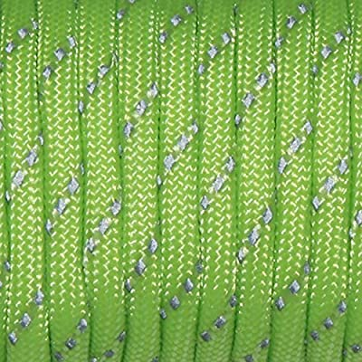 1pcs 550 Reflective Paracord 7 Core Parachute Cord 100FT Strand for Buckles Bracelet Neon Green(Neon Green)