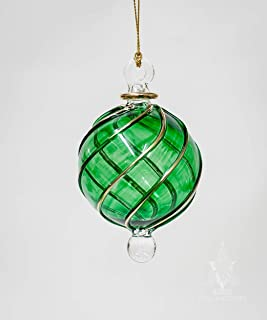 Egyptian Museum Small Green Globe with Gold Trim