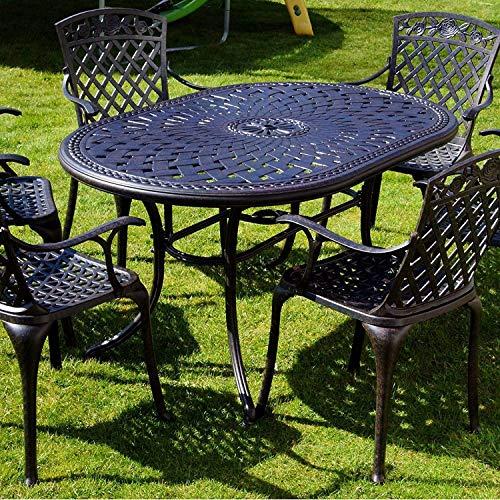 AMAZACER-08 - Mesa de jardín ovalada (150 x 95 cm, 6 plazas, sin mantenimiento, resistente a la intemperie, ligero, aluminio fundido en arena, acabado bronce antiguo, sillas a juego