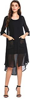 Pinspark Women's 3/4 Sleeve Split Back Sheer Chiffon Maxi Kimono Long Cardigan Blouse