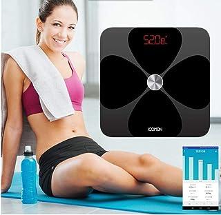 Báscula de grasa corporal inteligente Qaqv Báscula de peso para baño digital Báscula de piso Báscula Bmi Bluetooth Balance de habitación Led Glass Gift