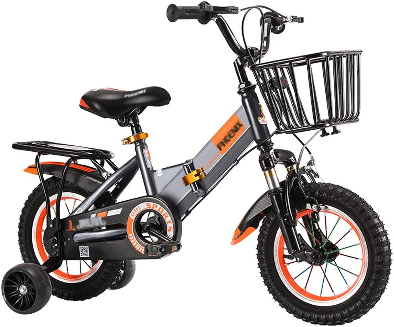 CCNIU Biciclette per Bambini, Adatte a Ragazzi e Ragazze di 3-15 Anni, Bici Pieghevole 12  14  16  18 , con Ruote da tuttienamento e Freno a uomoo, Arancione e Grigio