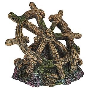 Pet Ting Shipwreck Wheel Aquatic Ornament – Aquarium...