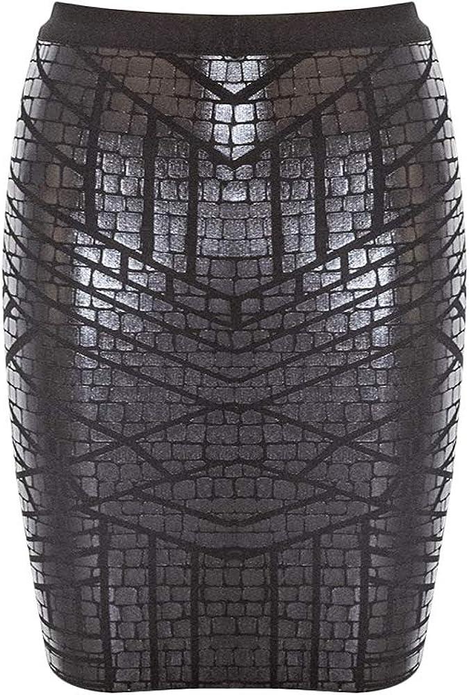 Nayssi Women's Leather Rayon Bandage Bodycon Skirt