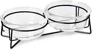کاسه های گربه ای شیشه ای MUZITY ، ظروف غذای حیوانات خانگی و آب با پایه فلزی ، 20 اونس (شفاف)