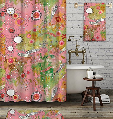 Sincerely Joy3 Piece Artist Bathroom Set Funky Colorful Boho Chic Accessories Include Shower Curtain Towel And Bath Mat Feathers Suns Flowers Mixed Media Painting By C Cambrea Dailymail