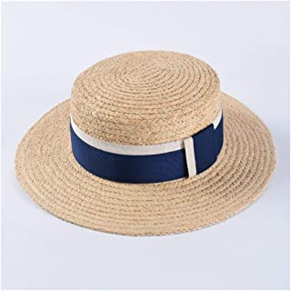 Summer hat Men's Flat top Lafite hat Couple Visor Holiday Travel Beach hat Female Sun hat` TuanTuan (Color : Blue)