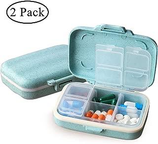 MOST ORIGINAL DESIGNM Small Pill Organizer 6 Day Portable Pill Case Cute for Purse BPA Free Food Grade Hard Plastic Material 6 Compartment Light Blue (Light Blue) (2)