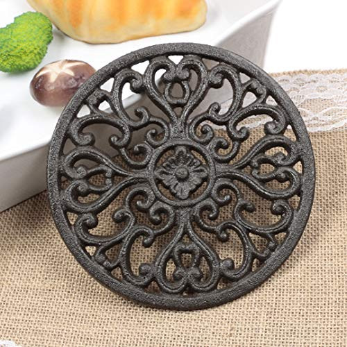 Famibay Round Cast Iron Trivet Iron Heat-Insulation Trivet Non-Slip Potholders with Rubber Pegs Vintage Pattern for Kitchen Dining Table Decor Round Dia. 6.7