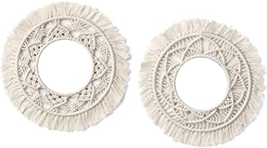 Monland Wall-Mounted Mirror Lace Fringe 2 Sets of Small Round Decorative Boho Mirror Hand-Woven Decorative Frame