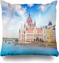 Ahawoso Decorative Throw Pillow Cover Square 16x16 Beautiful View Waterfront City Journey Hungarian Europe On Danube Area Landmarks Downtown Hungary Cushion Case Home Decor Zippered Pillowcase