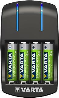 Varta Plug lader met LED-laaddisplay, Veiligheidsuitschakeling en exclusief Varta design, Laadt 2 of 4 AA, AAA tegelijk - ...