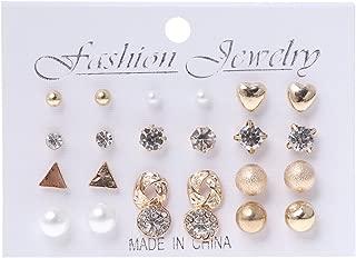 Qiuxiaoaa Stud Pendientes, 12 Pares de Crystal Punk Geometric Peach Heart Piercing Stud Earrings Set para Mujeres Golden
