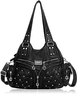 Angel Barcelo Roomy Fashion Hobo Damen-Handtaschen, Umhängetasche, Handtasche, gewaschenes Leder
