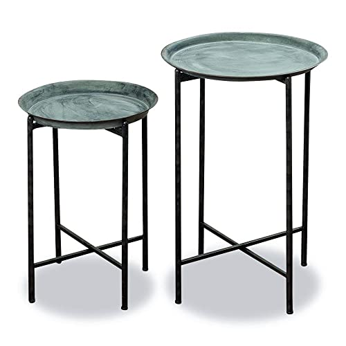 ef1739cf279b WHW Whole House Worlds Farmer's Market Plant Stand Tables, Set of 2, Round  Tops
