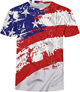 YSY-CY Fashion Men Summer T-Shirt Printed Independence Day Print Tees Shirt O Neck Fashionable Short Sleeve Daily Casua T Shirt Blouse Suitable for outdoor travel/daily wear at work