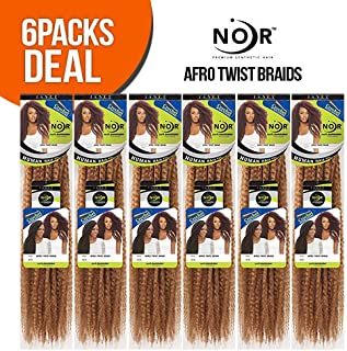 Janet Collection Synthetic Hair Braids Noir Afro Twist Braid (Marley Braid) (6-Pack, 1)