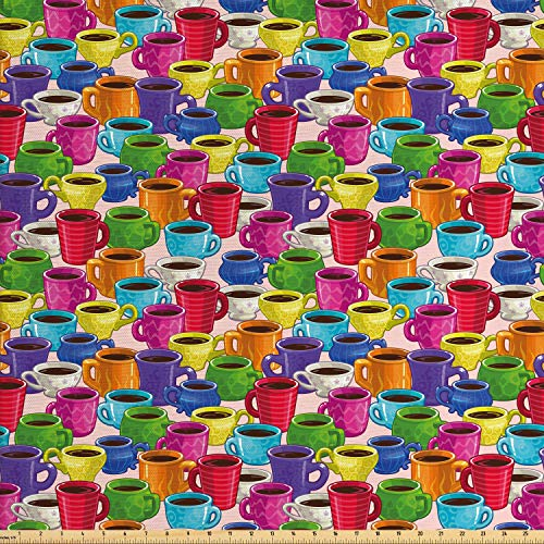Ambesonne Cartoon Fabric by The Yard, Colorful Vivid Vibrant Coffee House Inspired Modern Vintage Retro Mugs Cups Print, Decorative Fabric for Upholstery and Home Accents, 1 Yard, Green Magenta