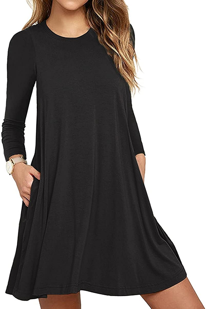 Unbranded Women's Long Sleeve Pocket Casual Loose T-Shirt Dress