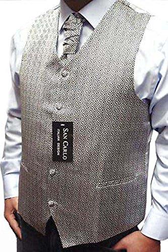 """Hommes Qualité motif géométrique noces d'argent gilet ensemble (ref:silver geometric waistcoat) (XL (44""""))"""