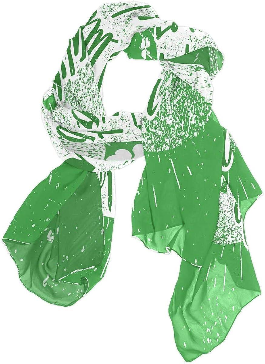 AUUXVA Fashion Scarf Happy Saint Patrick's Day Hat Long Lightweight Sunscreen Scarf Shawl Wrap Muffler Neckerchief for Women Men