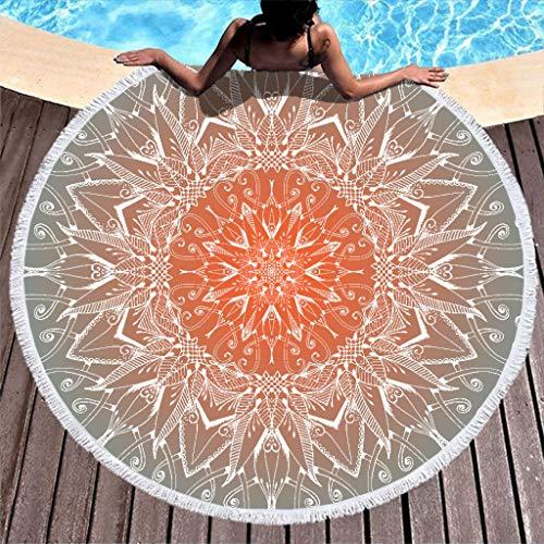 O2ECH-8 Emerald Mandela microvezel badhanddoek, wandtapijt, mandela kunst, zandbestendig, outdoormat, 59 inch (59 inch) voor zwembad