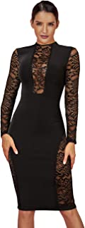 UONBOX Women's Long Sleeves Lace Spliced Round Neck Bodycon Bandage Dress Knee Length Cocktail Dress