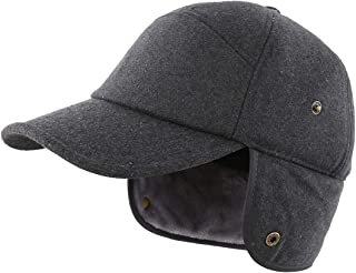 LLmoway Men's Winter Baseball Cap with Earflaps Fleece Lined Trapper Hunting Hat
