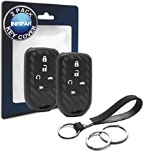 2pcs Compatible with Honda Smart Carbon Fiber Looks Silicone FOB Key Case Cover Protector Keyless Remote Holder for 2019 2018 2017 2016 2015 Honda Civic CR-V Accord CRV Pilot EX EX-L Touring Premium