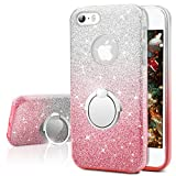 Silverback for iPhone 5S Case, iPhone 5S / 5 Case, Girls Bling Glitter Sparkle Cute Case with 360 Rotating Ring Stand, Soft TPU Outer Cover + Hard PC Inner Skin for Apple iPhone 5S 5 -Ombra Pink