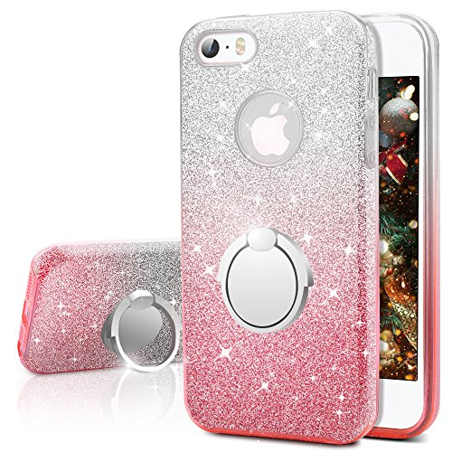 iPhone SE Case, iPhone 5S / 5 Case, Silverback Girls Bling Glitter Sparkle Cute Case with 360 Rotating Ring Stand, Soft TPU Outer Cover + Hard PC Inner Shell Skin for Apple iPhone SE 5S 5 -Ombra Pink