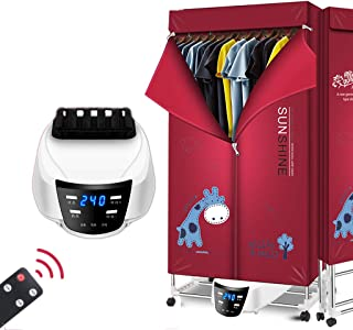 VOCD Electric Clothes Dryer,Simple Household Foldable Electric Dryer Large Capacity 15kg Double Aluminum Alloy Remote Control Energy Saving Indoor Wet Clothes Warm Air Drying Wardrobe